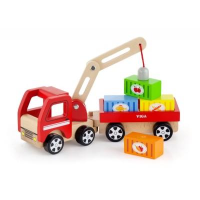 50690 VIGA Дървен камион с кран и контейнери
