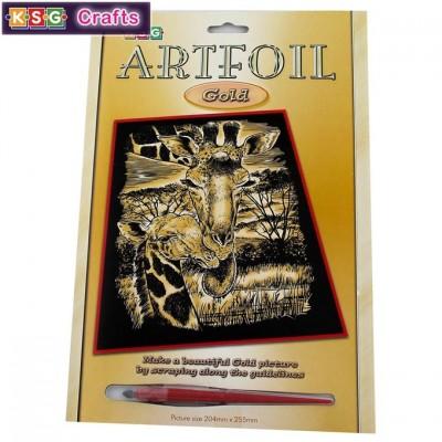 0605 KSG crafts: Гравиране на златна основа: Жирафи