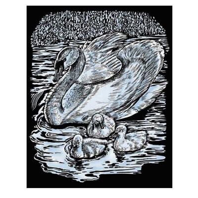 0607 KSG crafts: Гравиране на сребърна основа: Лебед и патета