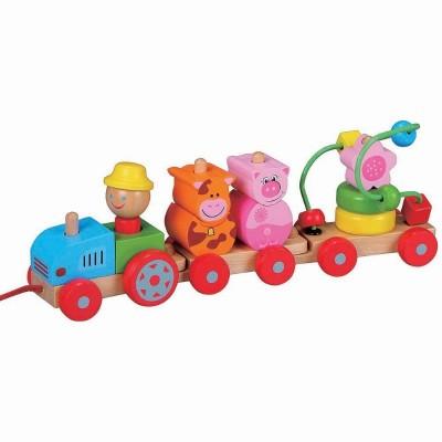 10017 Lelin Toys Дидактическо влакче/трактор с въже за дърпане