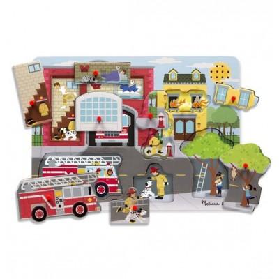 10736 Дървена пъзел/пожарна със звуци