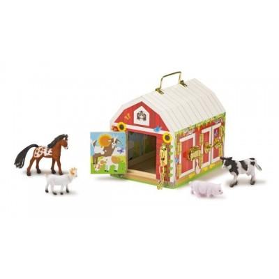 12564 Дървена плевня с животни