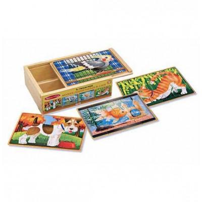 13790 Дървени пъзели с животни в кутия