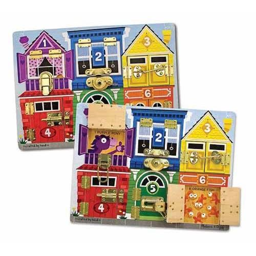 13785 Дървена дъска с къщички и ключалки