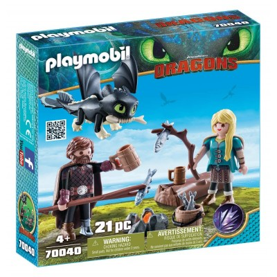 70040 Playmobil Dragons: Хълцук, Астрид и Драконa