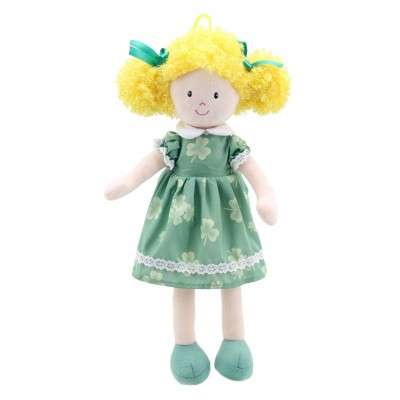 1022WB Парцалена кукла: Момиче със зелена рокля, 38 см