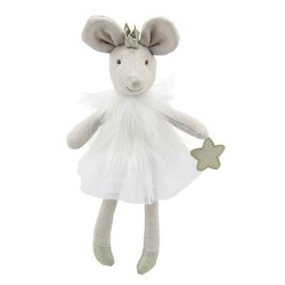 4105WB Мека играчка: Мишле с бяла рокля, 32 см