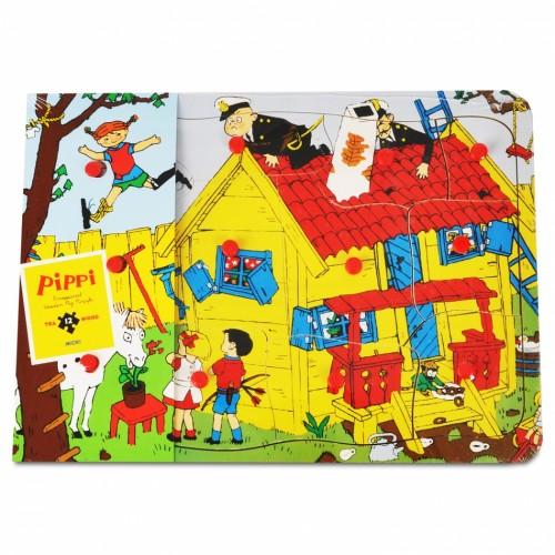 443791 Pippi: Дървен пъзел с дръжки, Пипи Дългото чорапче