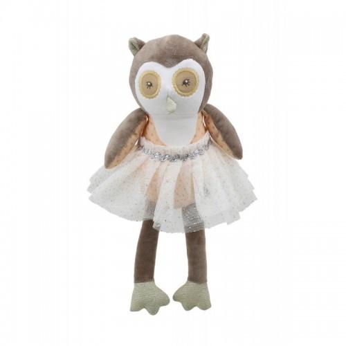 WB004119 Мека играчка: Бухалче с рокличка, кафяво, 30 см