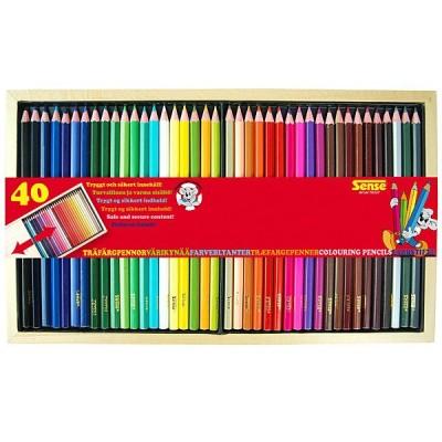 10337 Sense: Цветни моливи в дървена кутия, 40 броя